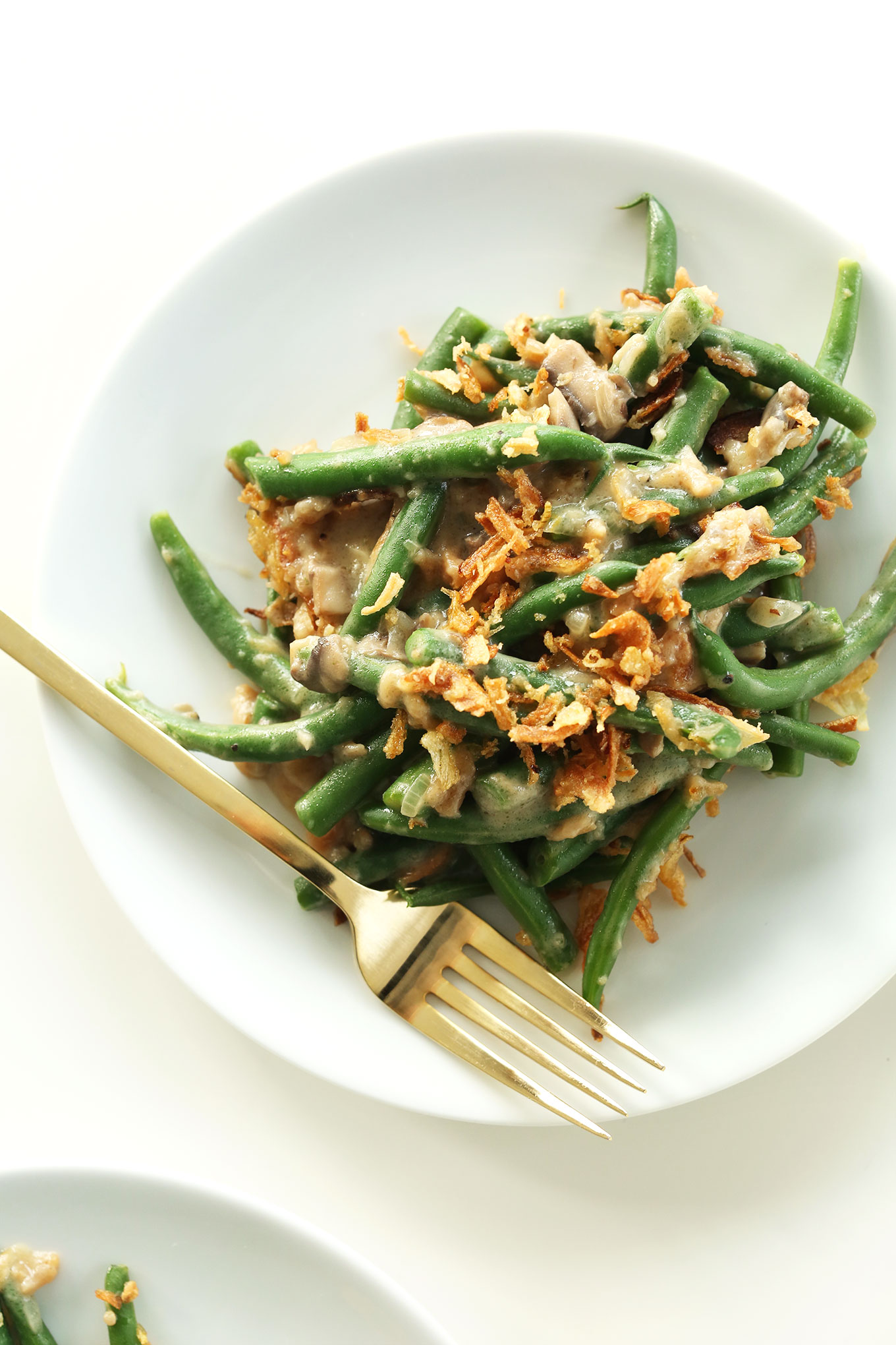 Plate of the Easiest Green Bean Casserole recipe