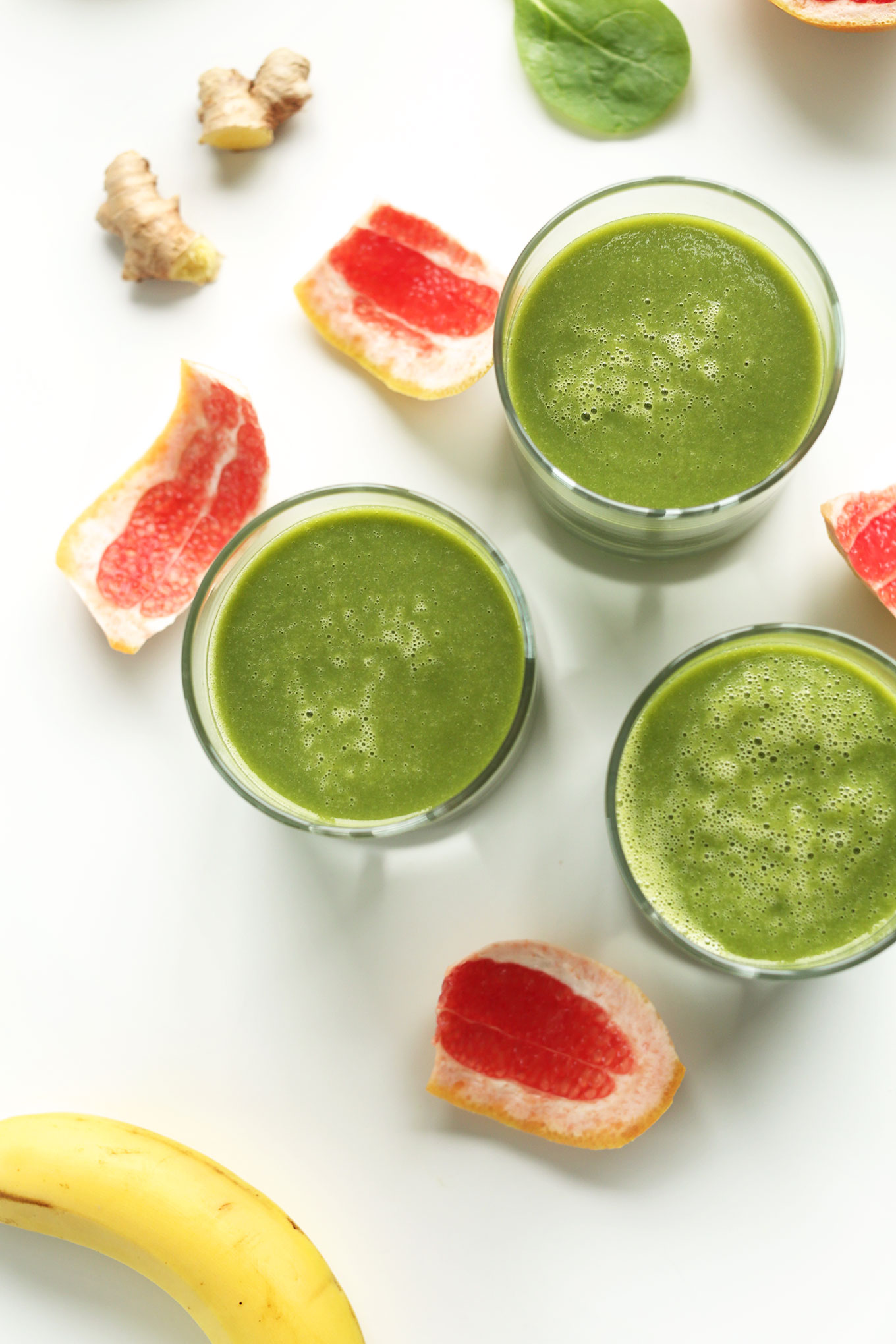 Glasses of our vegan gluten-free Grapefruit Green Smoothie