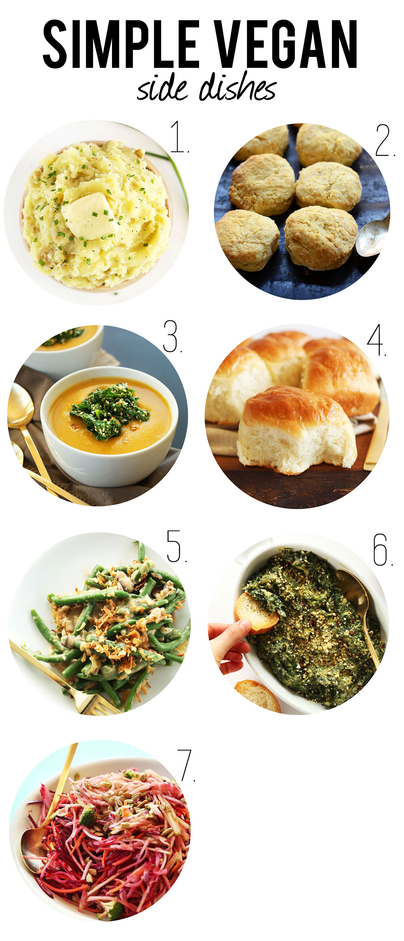 Photos of 7 simple vegan side dishes