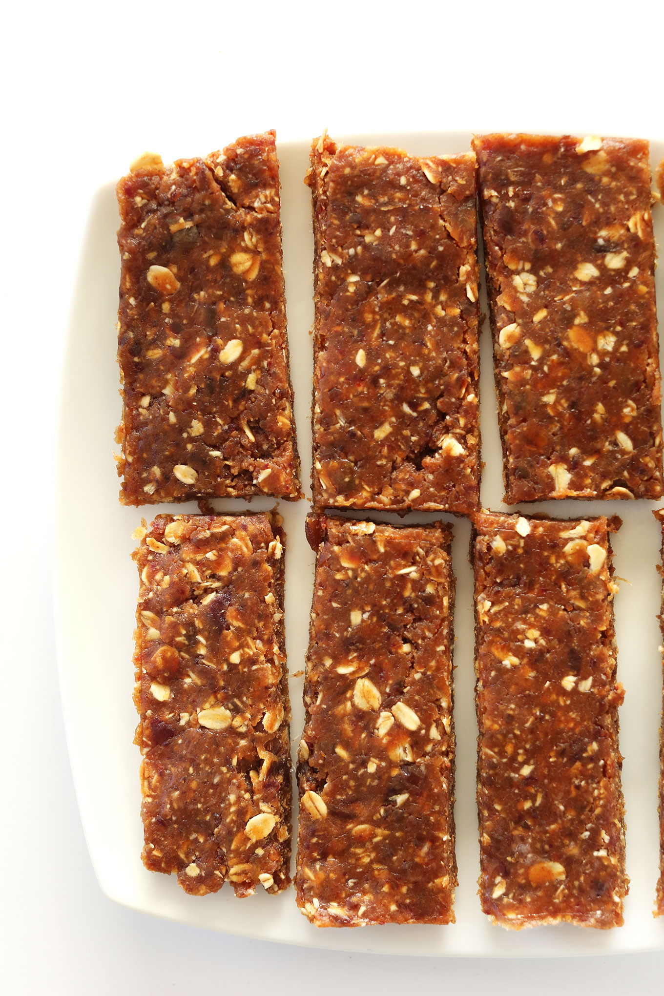 Freshly sliced homemade gluten-free vegan Peanut Butter Granola Bars