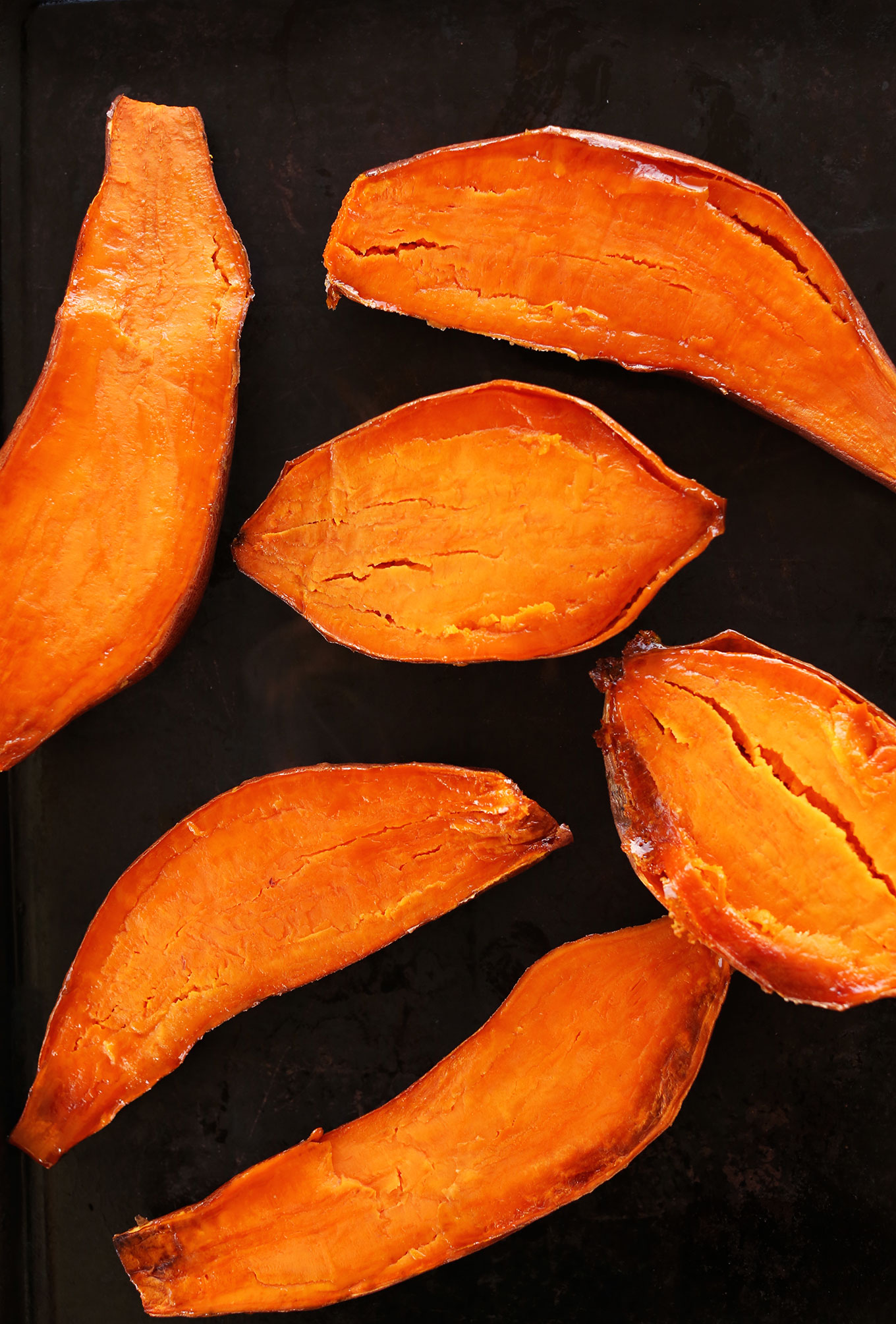 Roasted sweet potatoes for making our Sweet Potato Black Bean Burgers recipe
