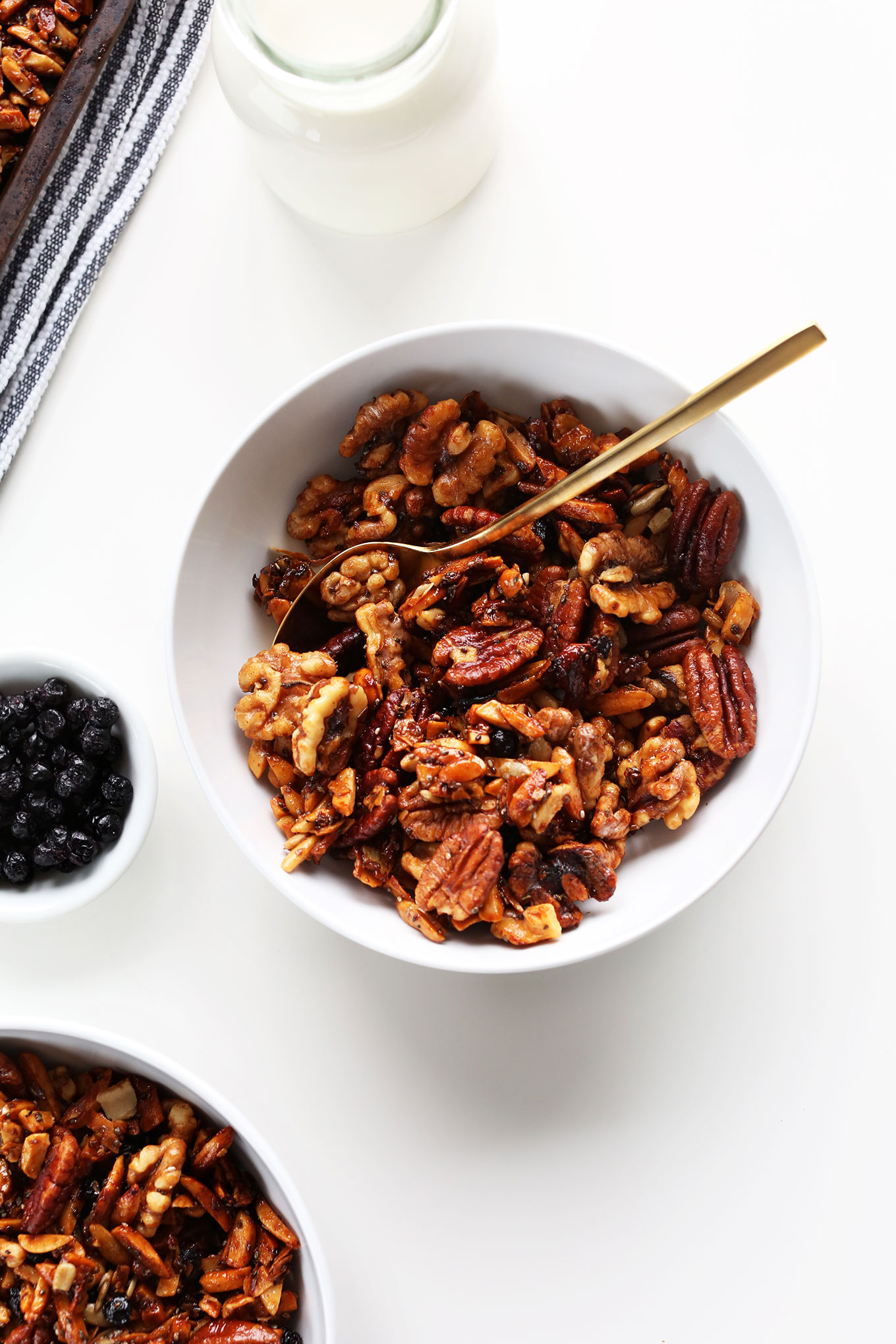 Top down shot of a bowl of our delicious Grain-Free Granola recipe
