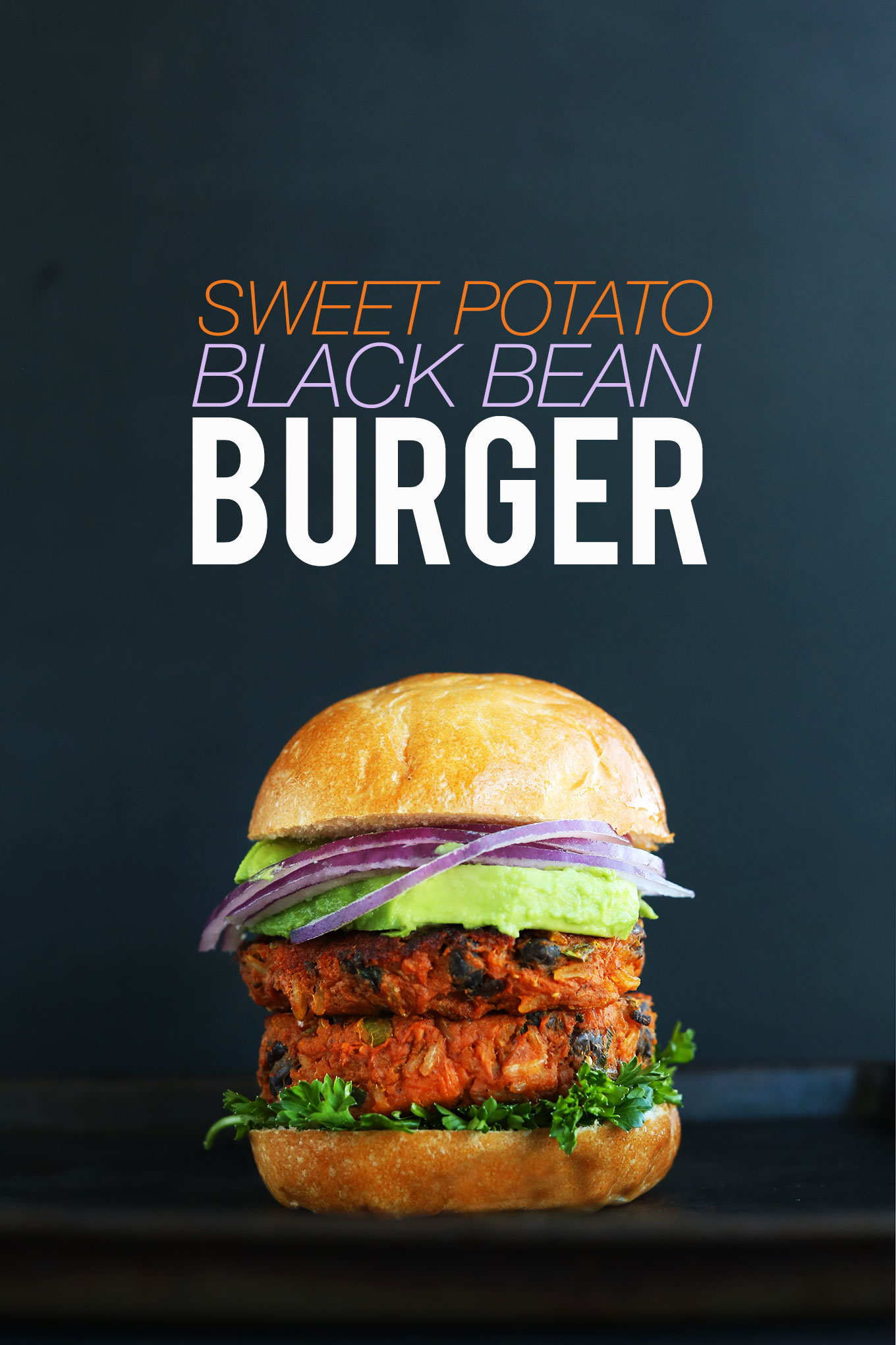 Hearty and delicious Sweet Potato Black Bean Burger with veggies on a bun
