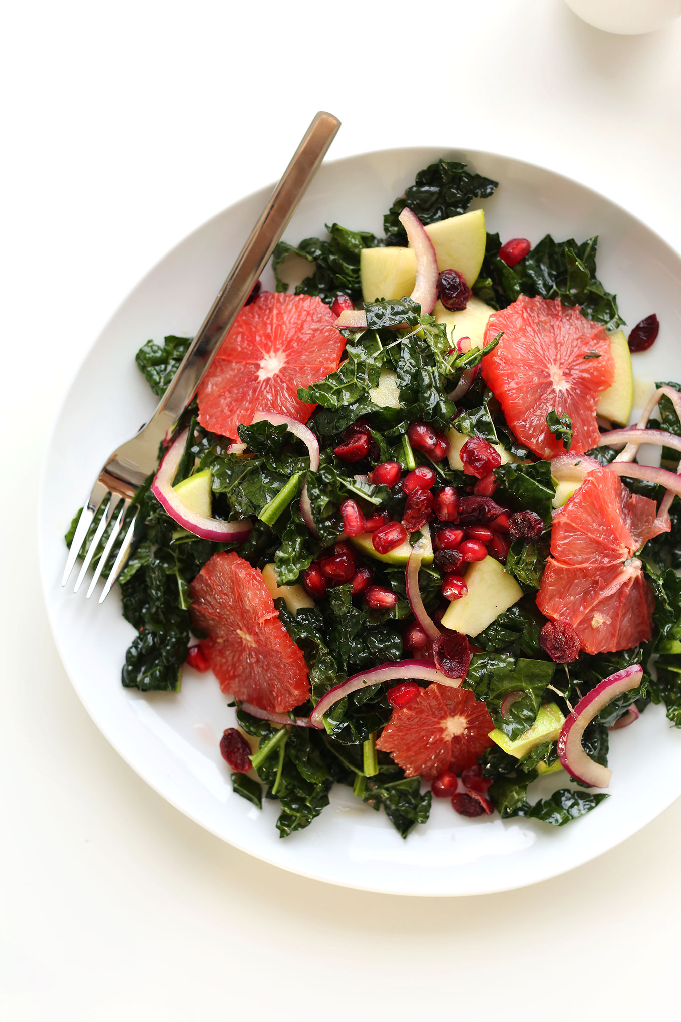 Big plate of our gluten-free vegan Citrus Kale Salad recipe