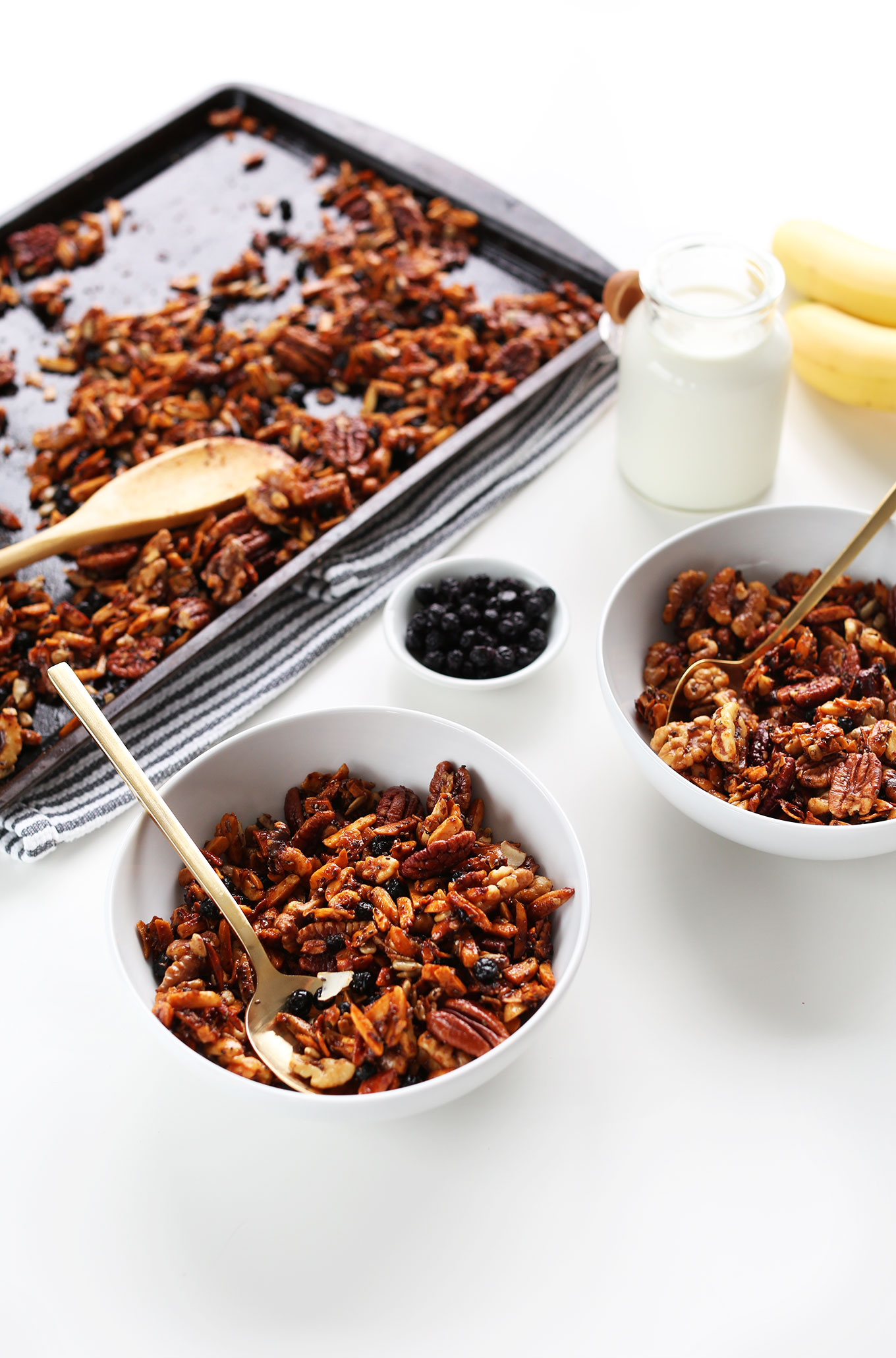Bowls of our amazing Grain-Free Granola made with nuts, seeds, and coconut