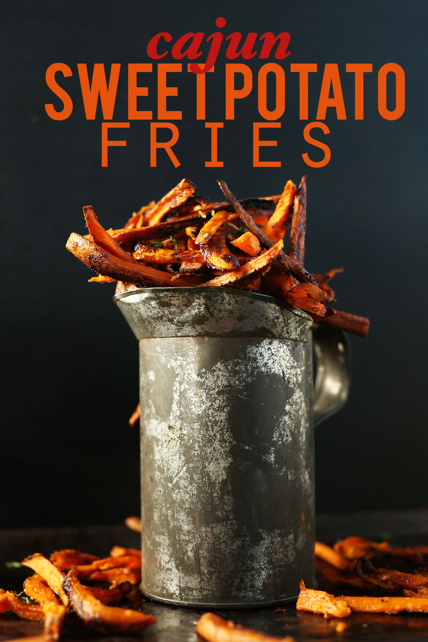 Metal jug filled with our Cajun Baked Sweet Potato Fries recipe