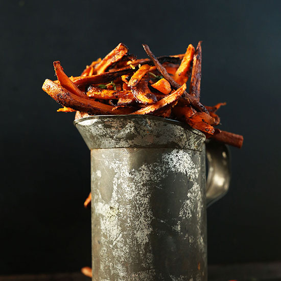 Watering tin filled with Cajun Baked Sweet Potato Fries