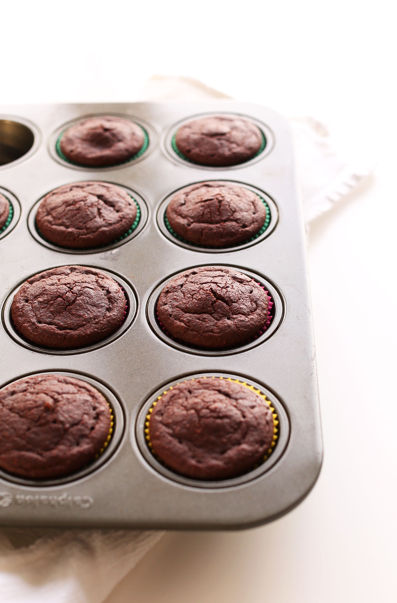 Muffin tin filled with Vegan Gluten-Free Chocolate Cupcakes