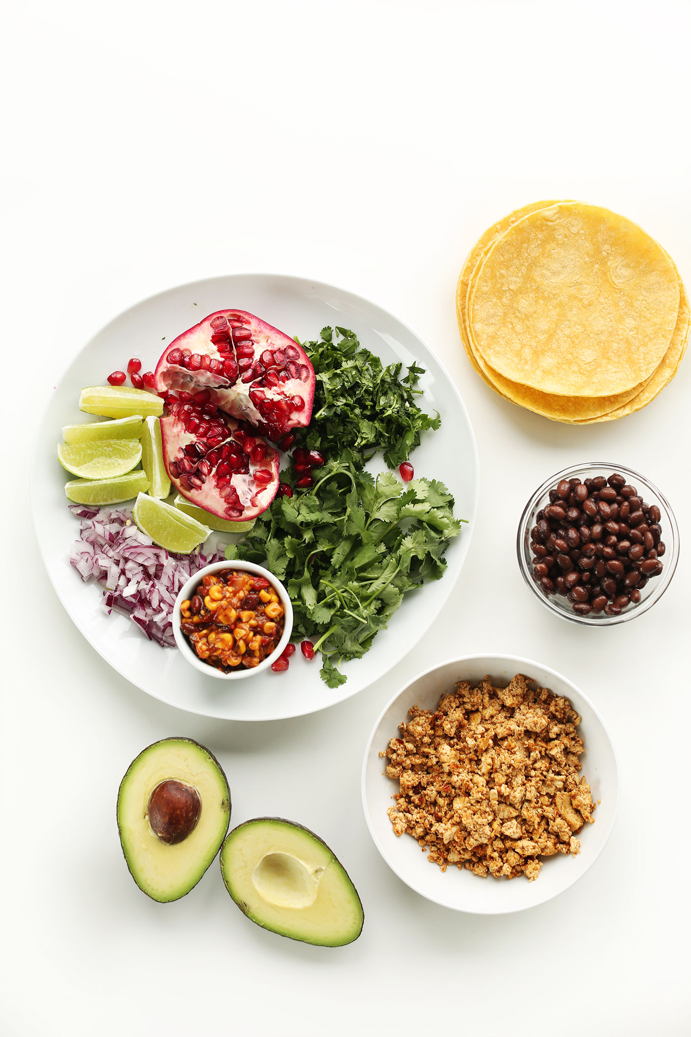 Ingredients for making Vegan Breakfast Tacos
