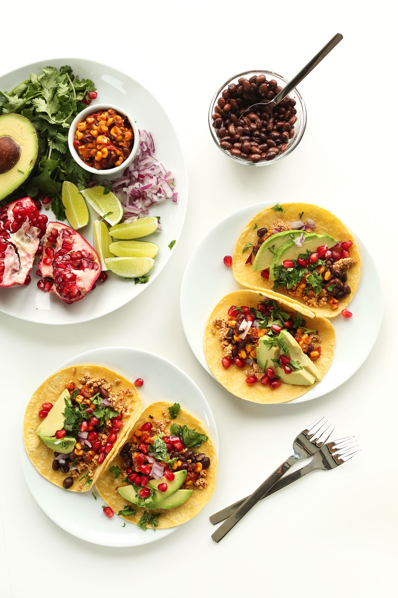 Plates of healthy Breakfast Tacos for a filling vegan meal