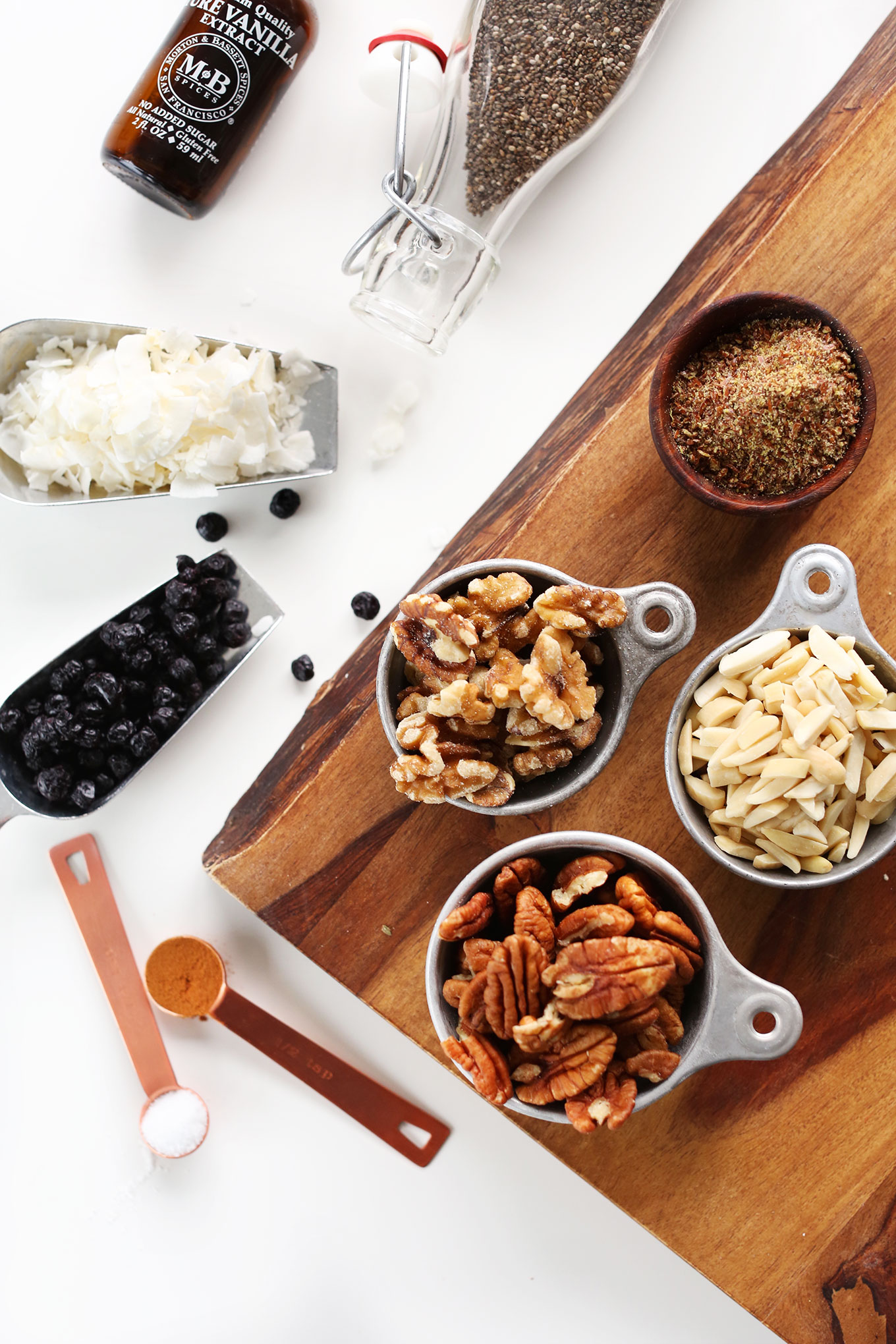 Ingredients for making our homemade high-protein grain-free granola