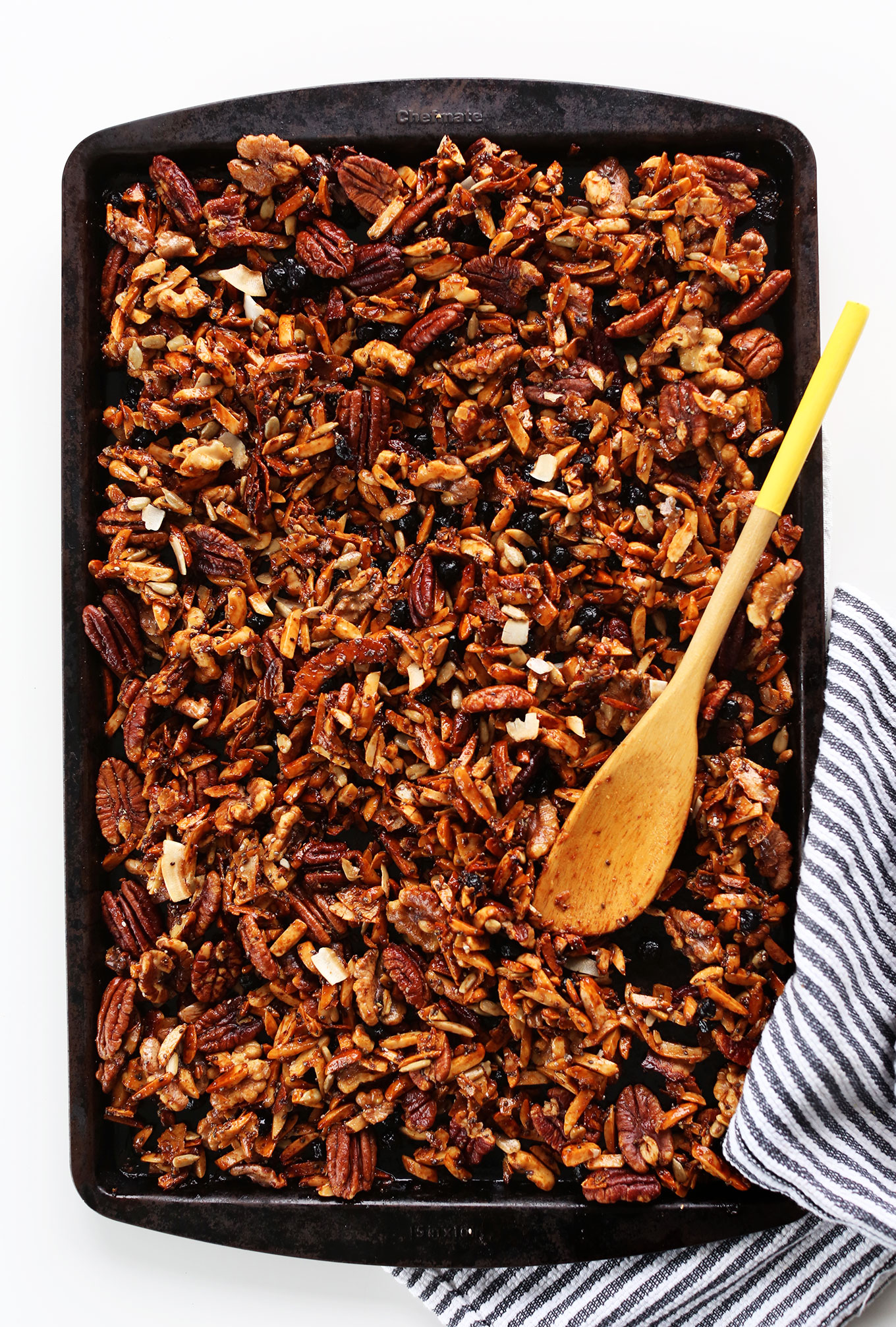 Baking sheet filled with a batch of our simple homemade Grain-Free Granola