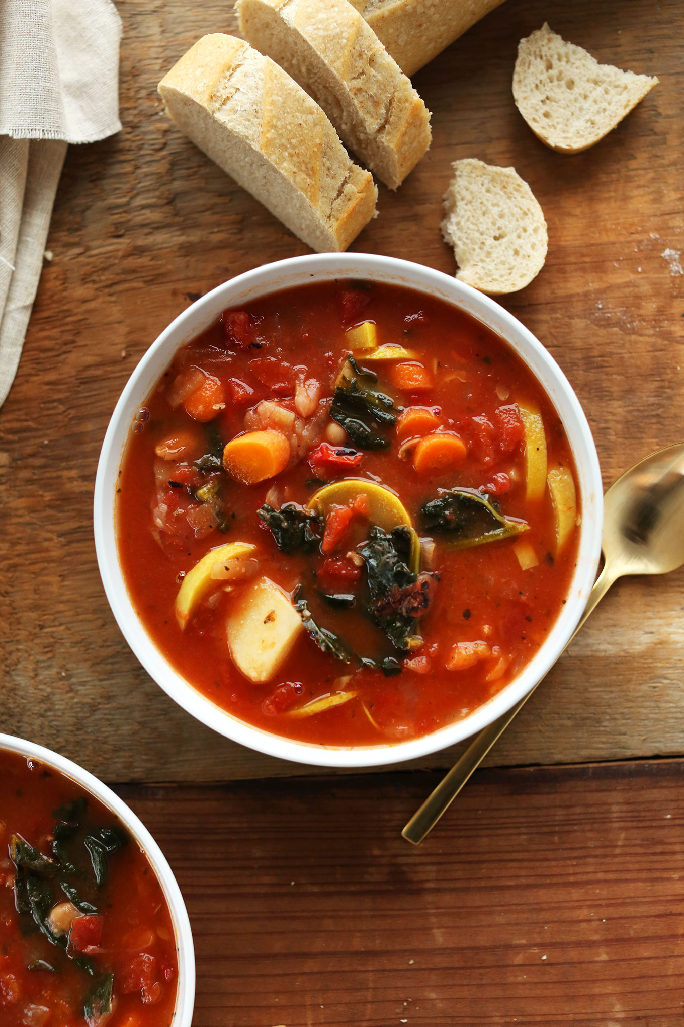Big bowl of our soul-warming Veggie and White Bean Stew recipe