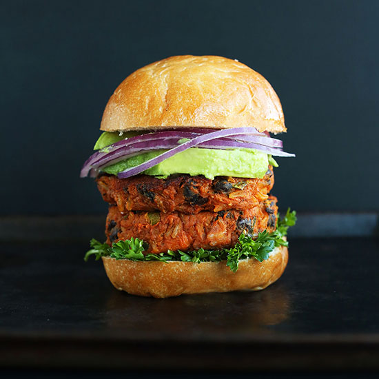 Two Sweet Potato Black Bean Burgers in a bun
