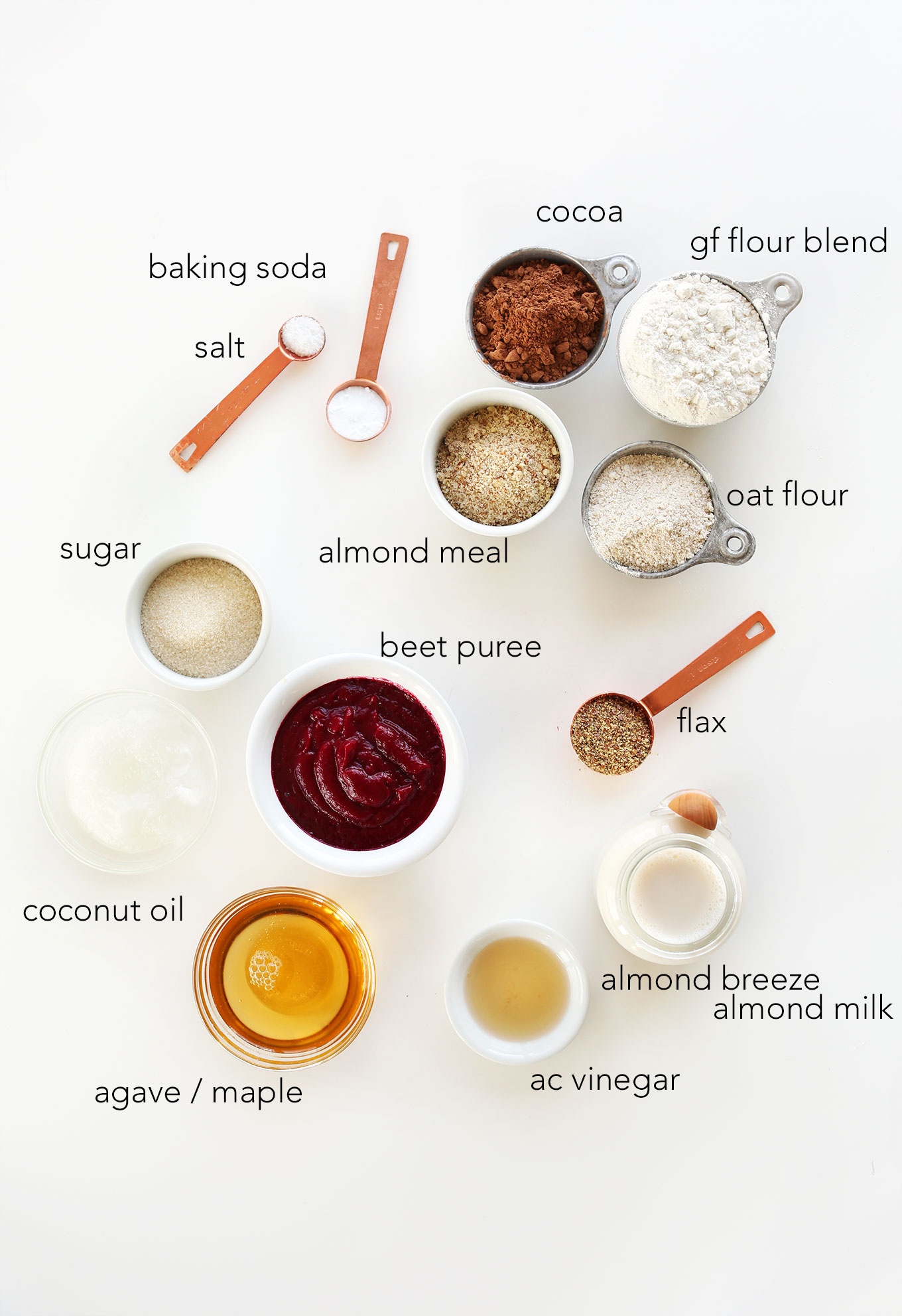 Ingredients for making our delicious Vegan Gluten-Free Chocolate Cupcakes recipe