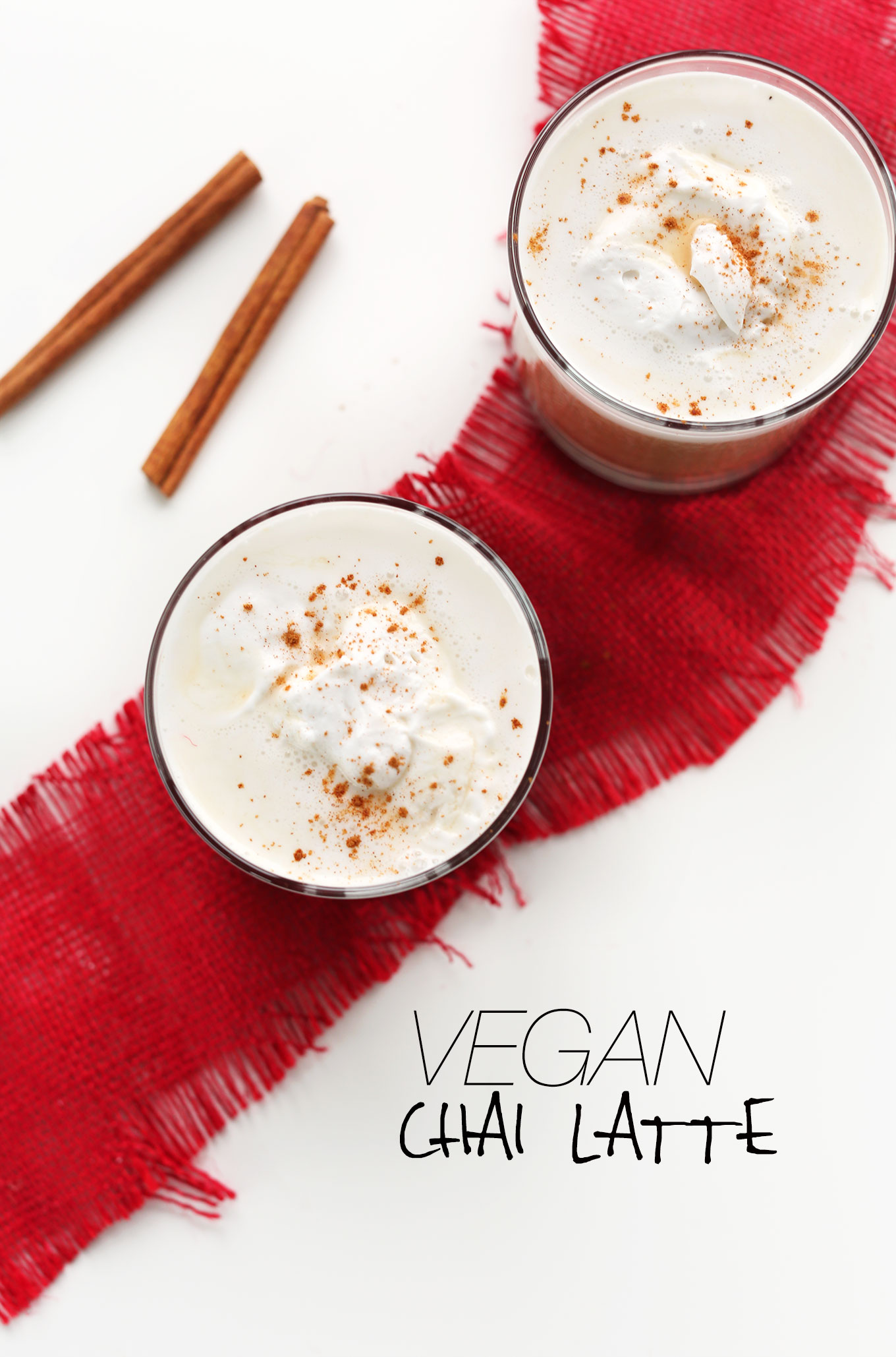 Glasses of our perfectly spicy Vegan Chai Latte