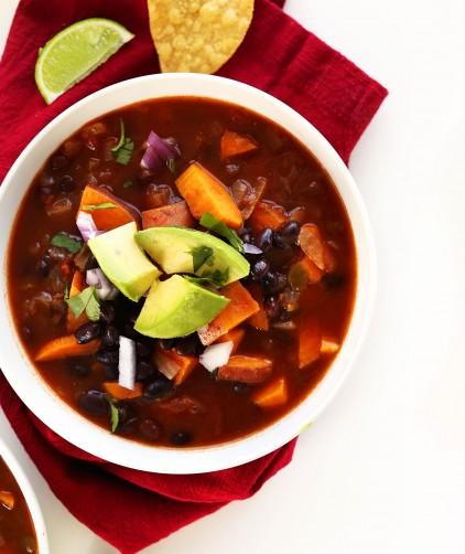 Bowl of our simple, healthy vegan sweet potato chili recipe