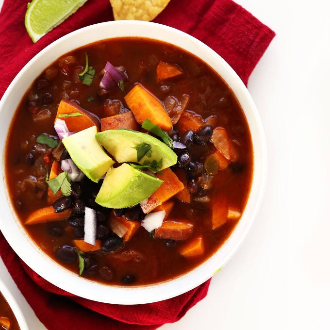 Bowl of our simple, healthy vegan sweet potato chili recipe