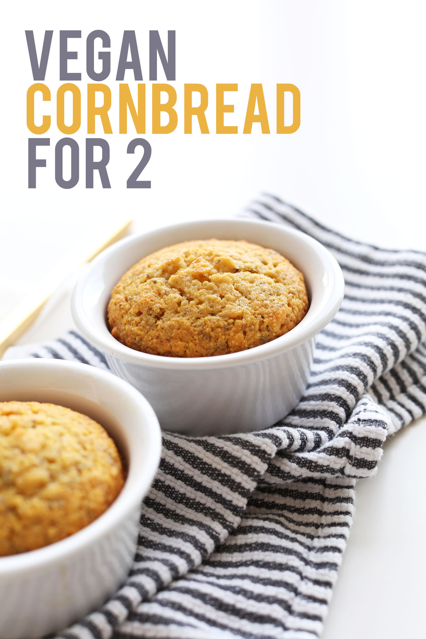 Batch of our crumbly and moist Vegan Cornbread recipe for two people