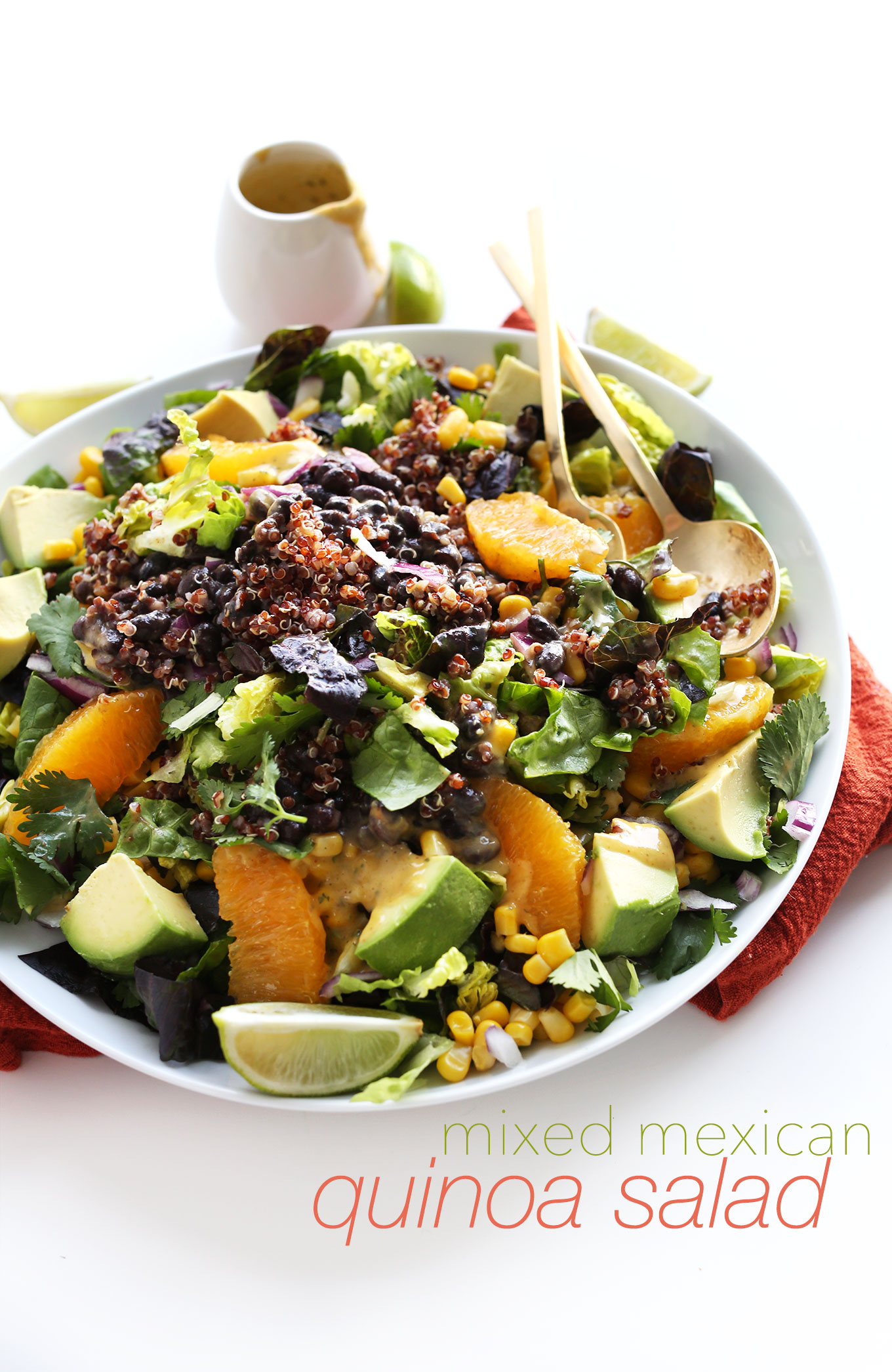 Gluten-free vegan whole meal Mexican Salad with Quinoa, Black Beans, and Corn