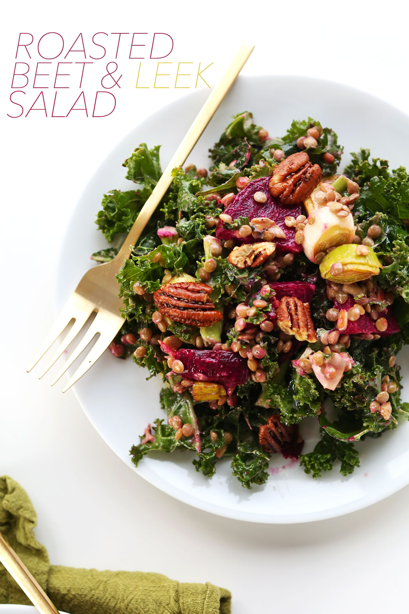 Big plate of our healthy winter kale salad recipe with lentils, beets, leeks, and pecans