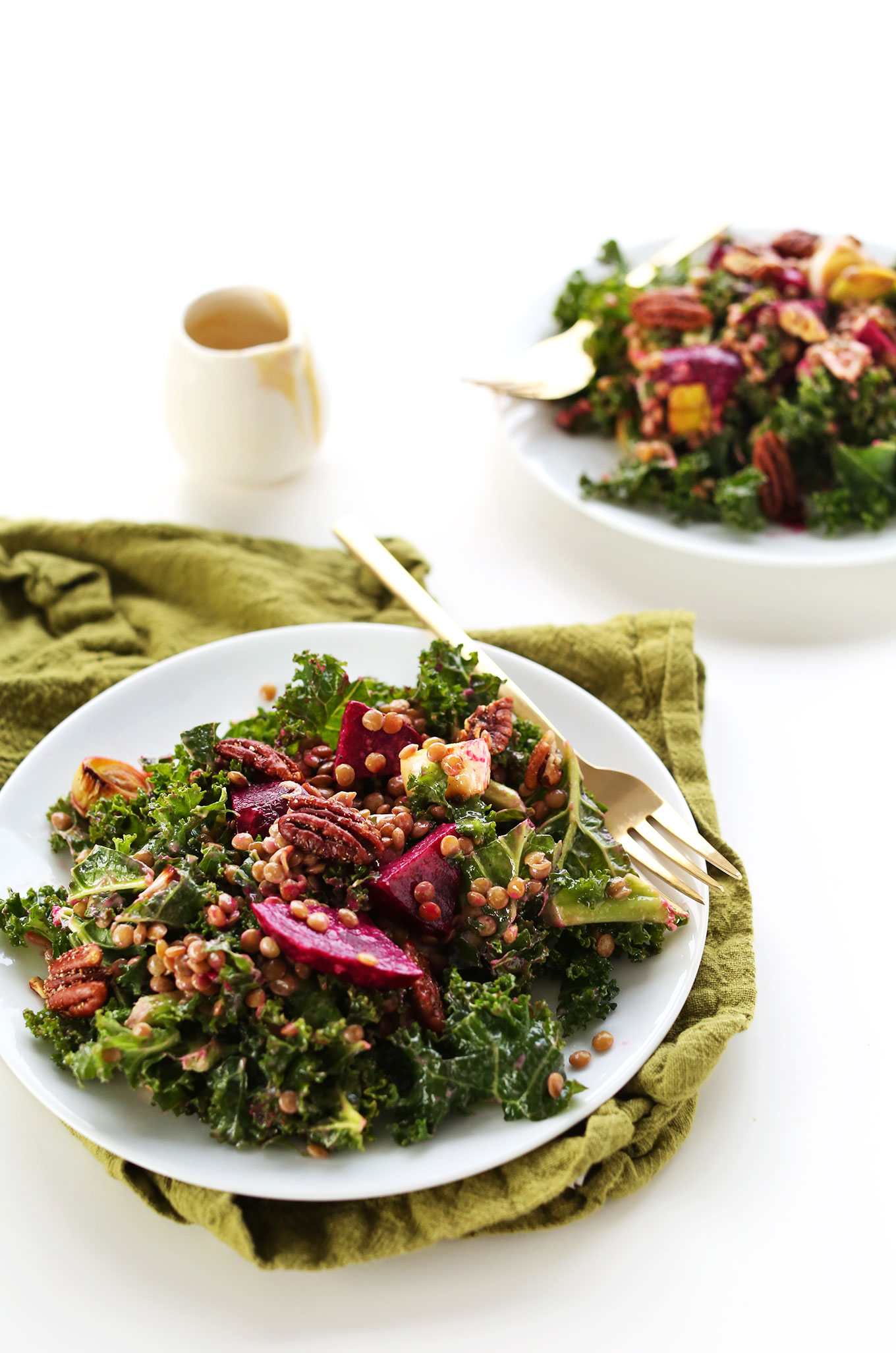 Dinner plate filled with our winter salad recipe of Kale, Lentils, Roasted Beets, and Leek