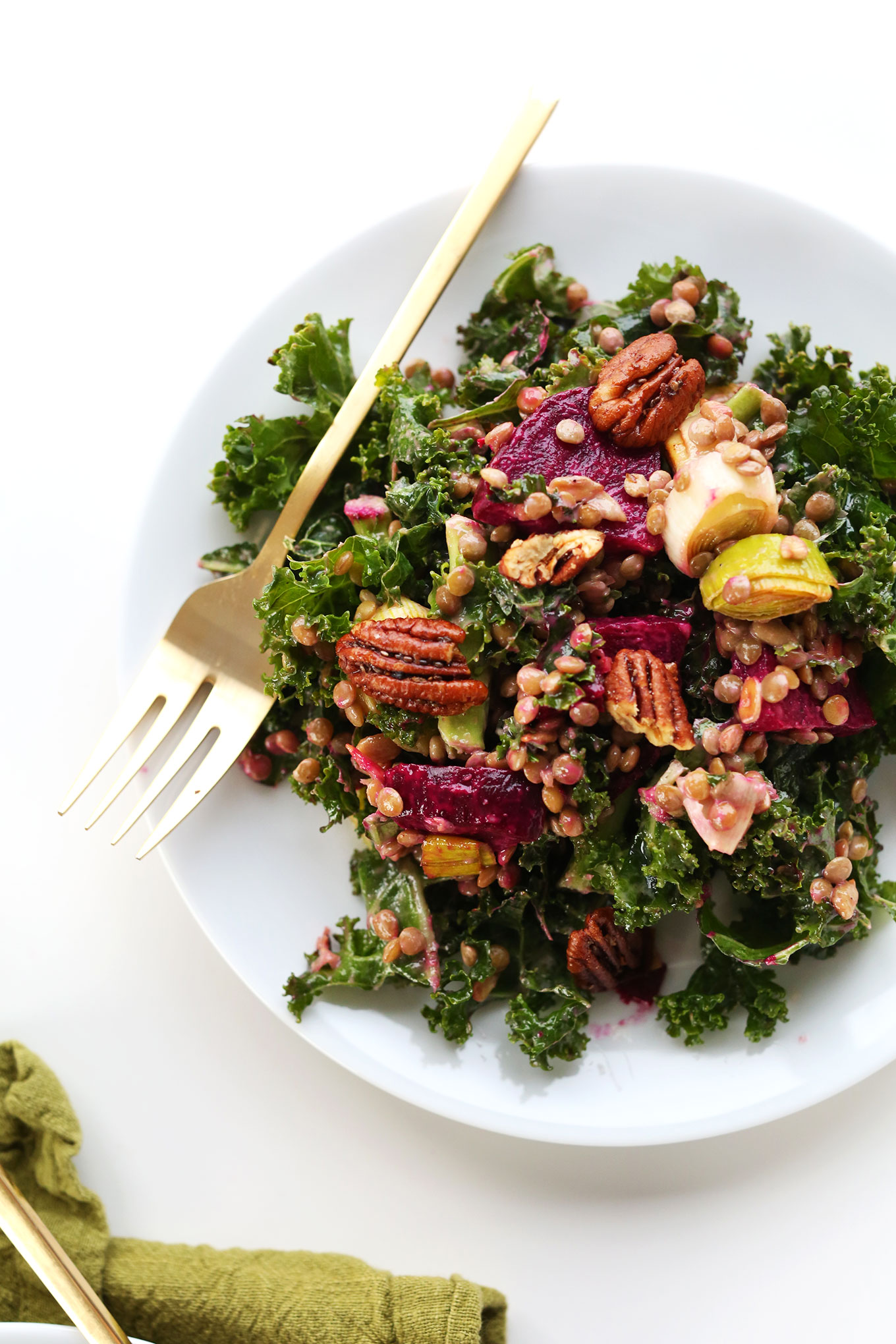 Big plate of healthy and satisfying Kale, Lentil, Roasted Beet Salad
