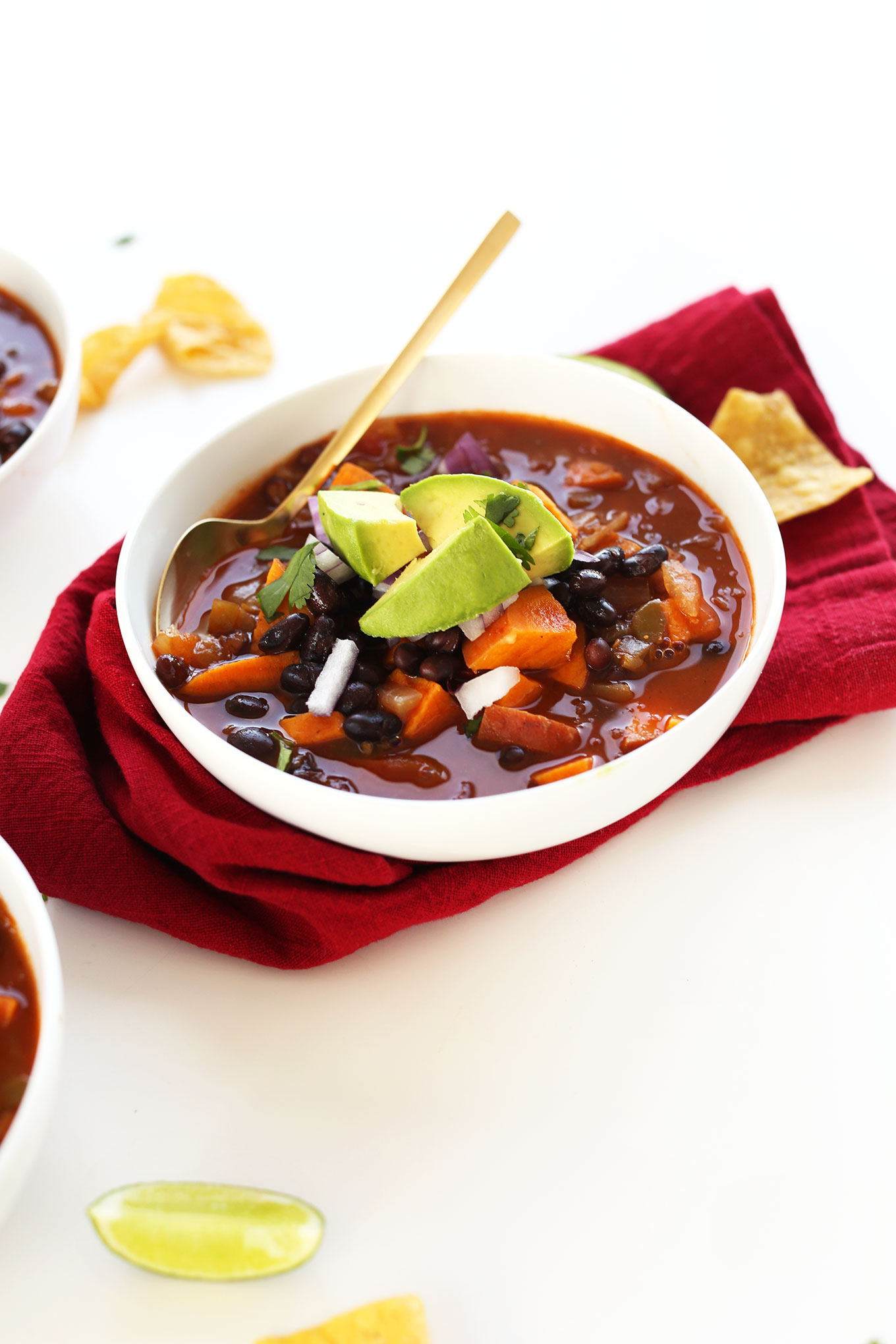 Dinner bowl filled with 5-Ingredient Vegan Black Bean Sweet Potato Chili