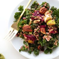 Big plate of our Kale, Lentil, & Roasted Beet Salad made with pecans and apple