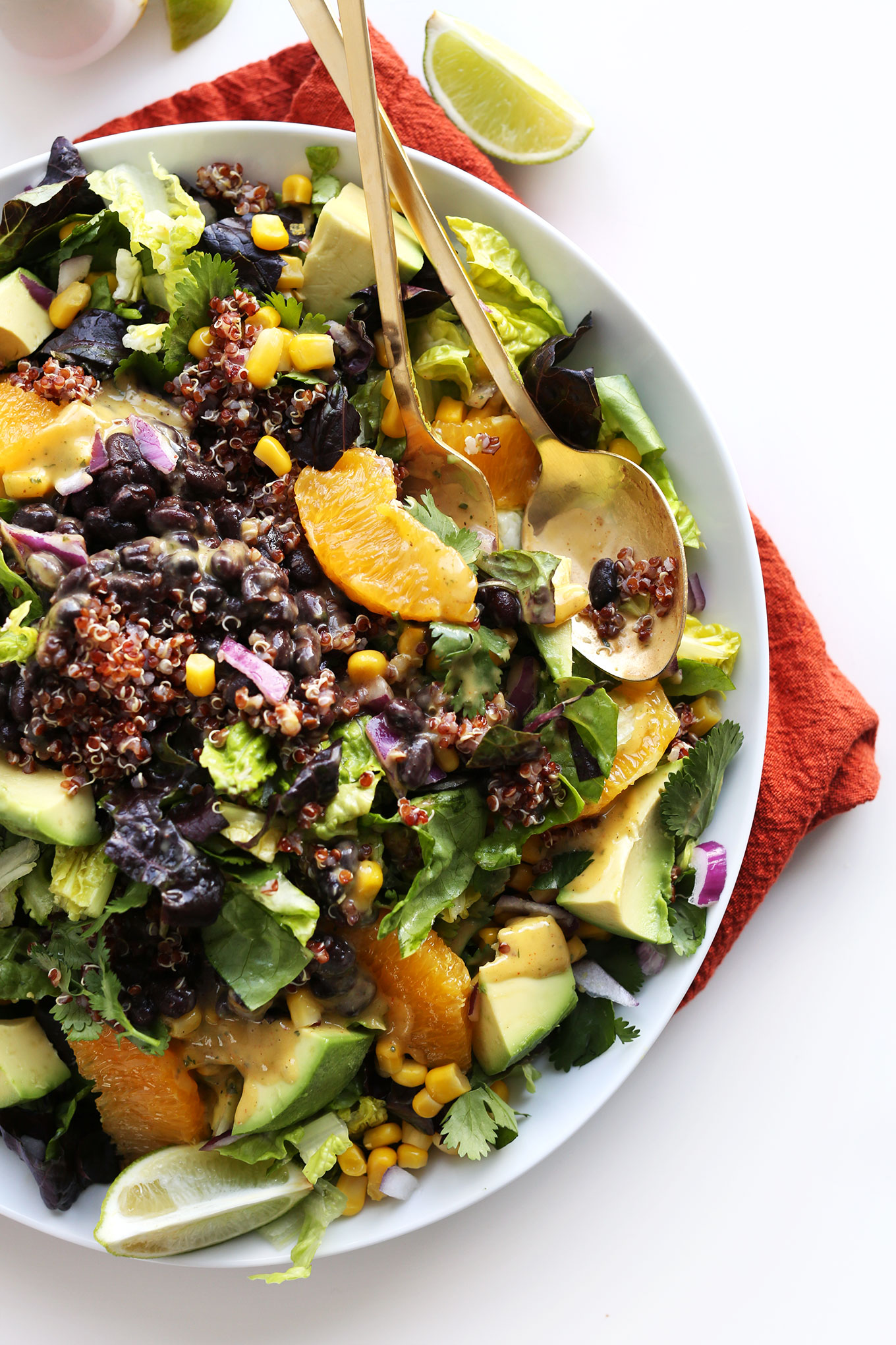 Big serving of our Mexican Vegan Salad recipe with Cilantro Orange Chili Dressing