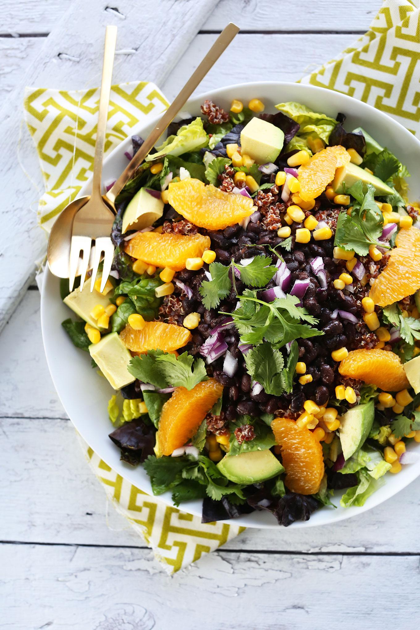 Quinoa Mexican Salad with Creamy Orange Chili Dressing! #vegan #glutenfree #minimalistbaker