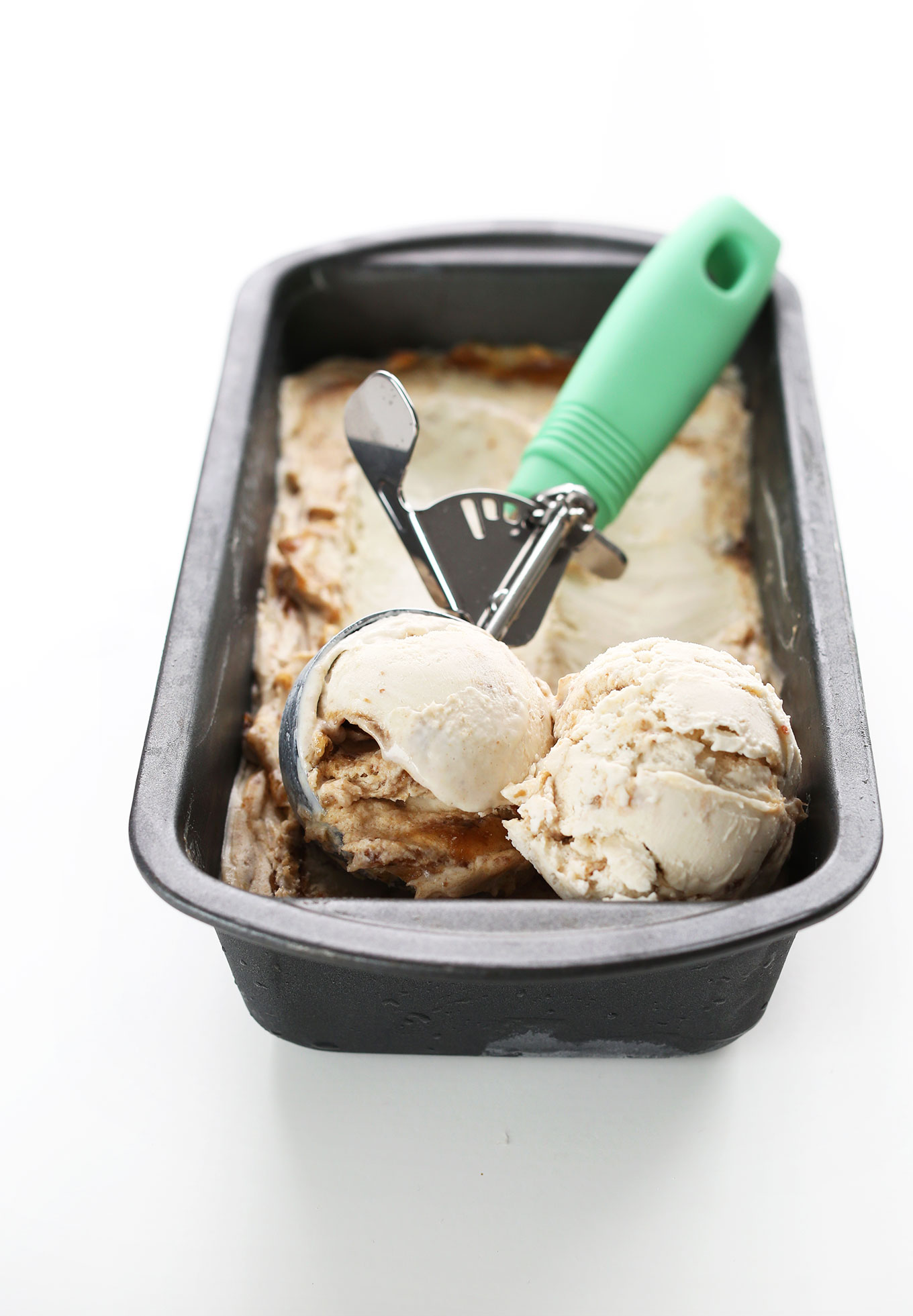 Pan of our Sea Salt Caramel Coconut Ice Cream for an incredible vegan dessert