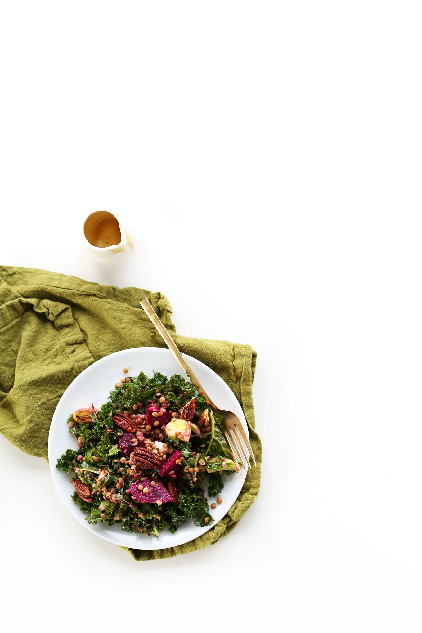 Healthy light meal of our refreshing Abundance Salad with Kale, Lentils, Leeks, and Beets