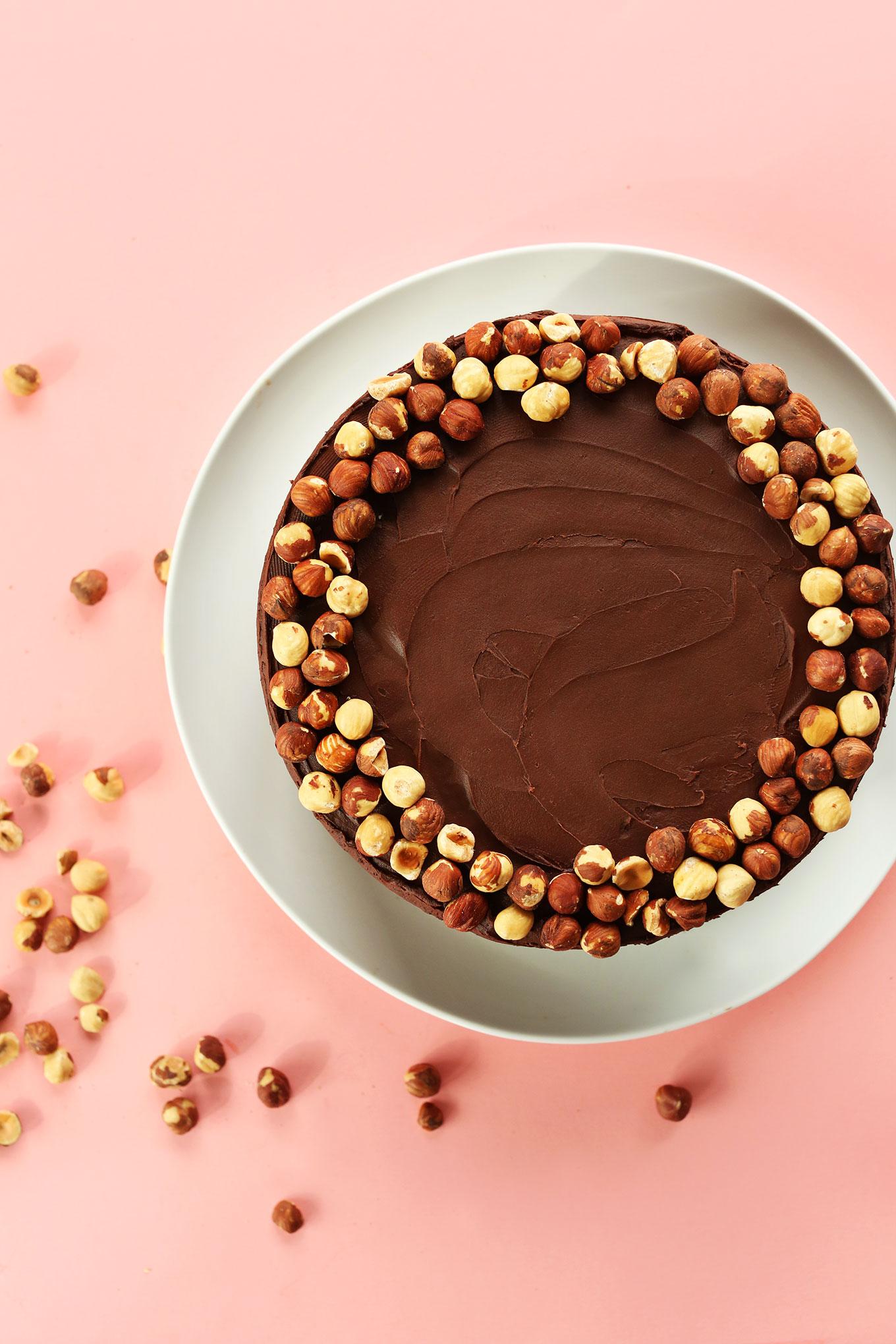 Our Vegan GF Chocolate Hazelnut Cake decorated with a rim of fresh roasted hazelnuts