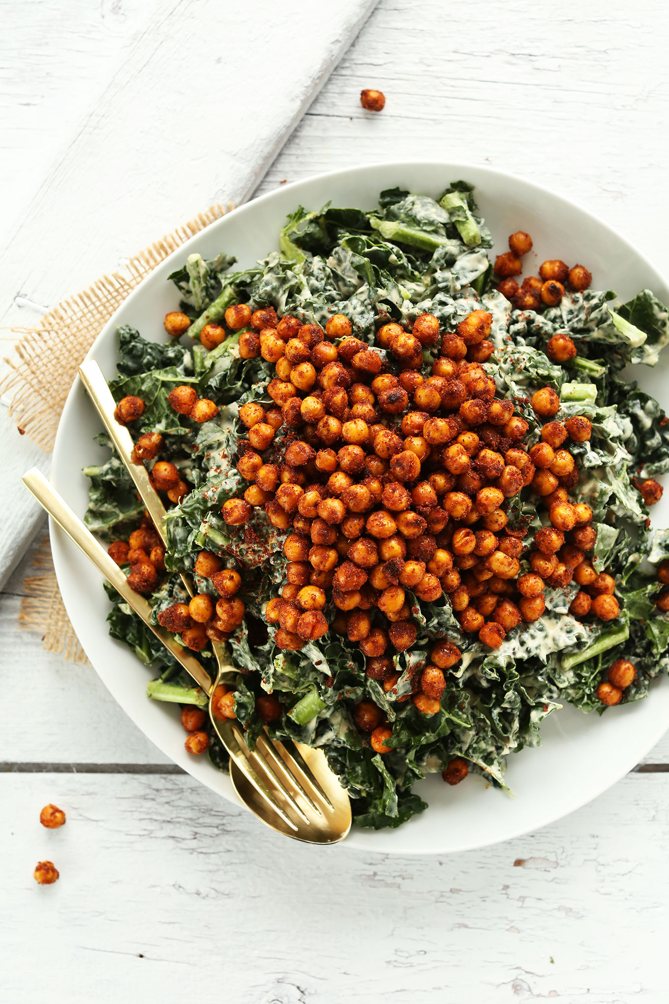 Big plate of our 30-minute Garlicky Kale Salad with Crispy Tandoori Roasted Chickpeas