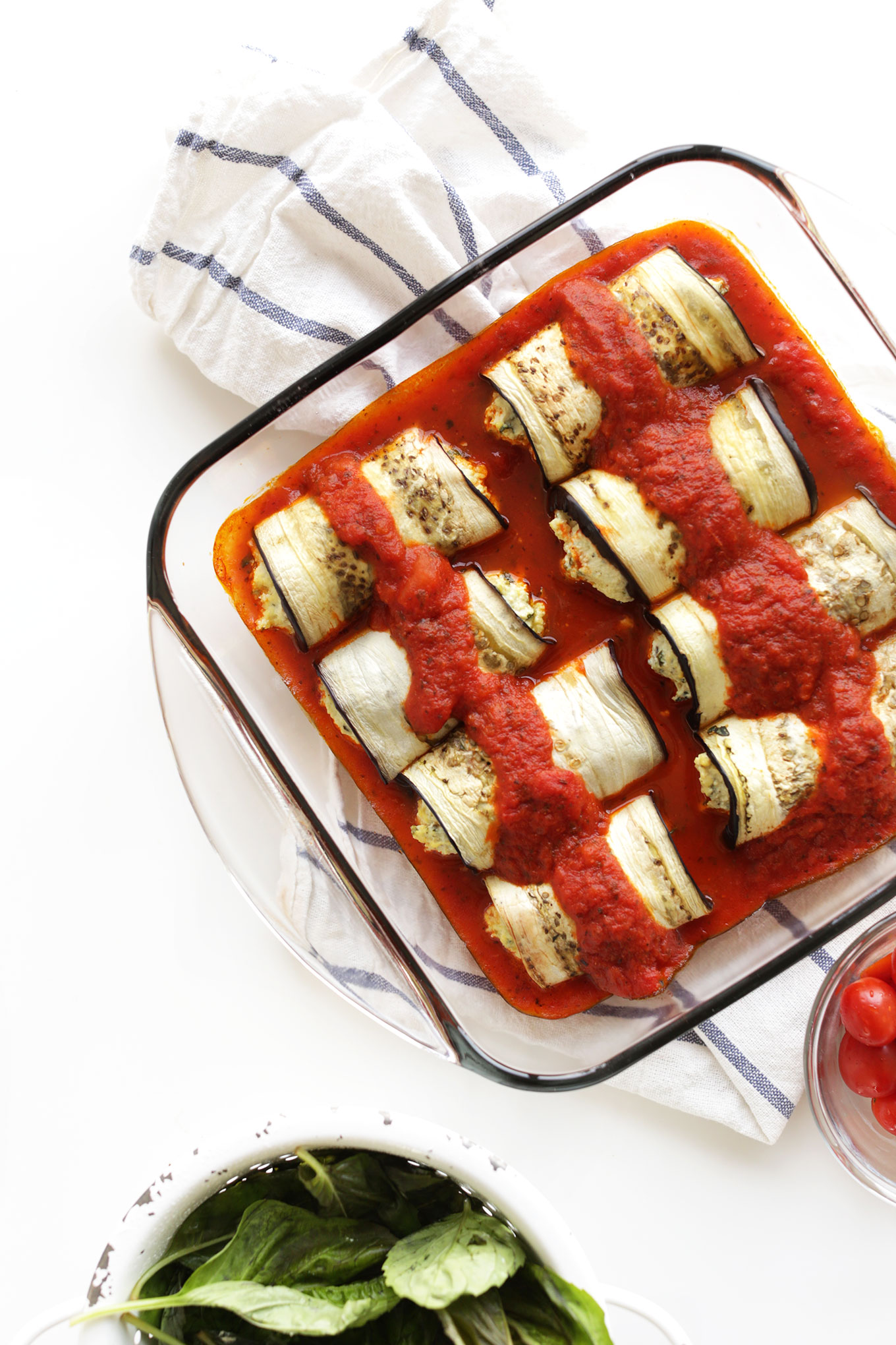 Pan of our healthy gluten-free vegan Eggplant Lasagna Roll-Ups recipe