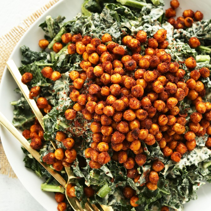 Gluten-free vegan dinner of Garlicky Kale Salad with Crispy Tandoori Roasted Chickpeas