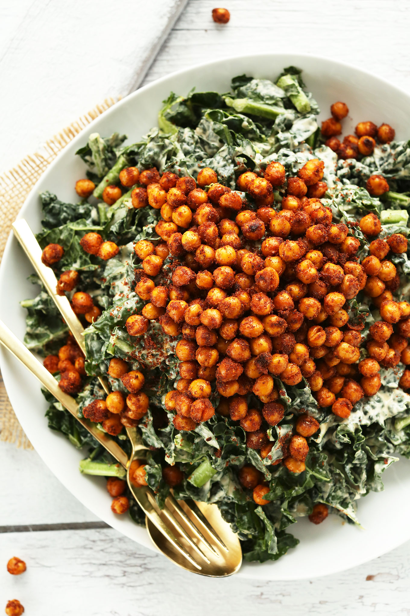 Big serving of our recipe for Garlicky Kale Salad with Tandoori Spiced Chickpeas