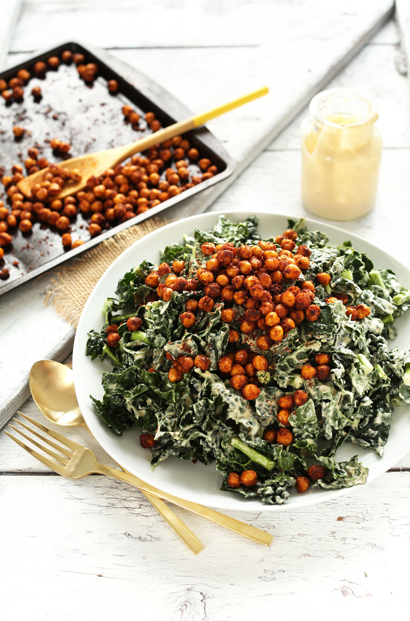 Big serving of our Garlicky Kale Salad with Tandoori Spiced Chickpeas for a simple gluten-free vegan meal