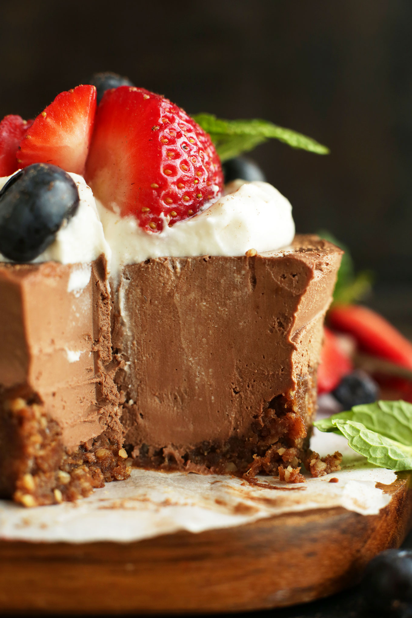 Close up shot of our No-Bake Chocolate Cheesecake with a mini slice removed