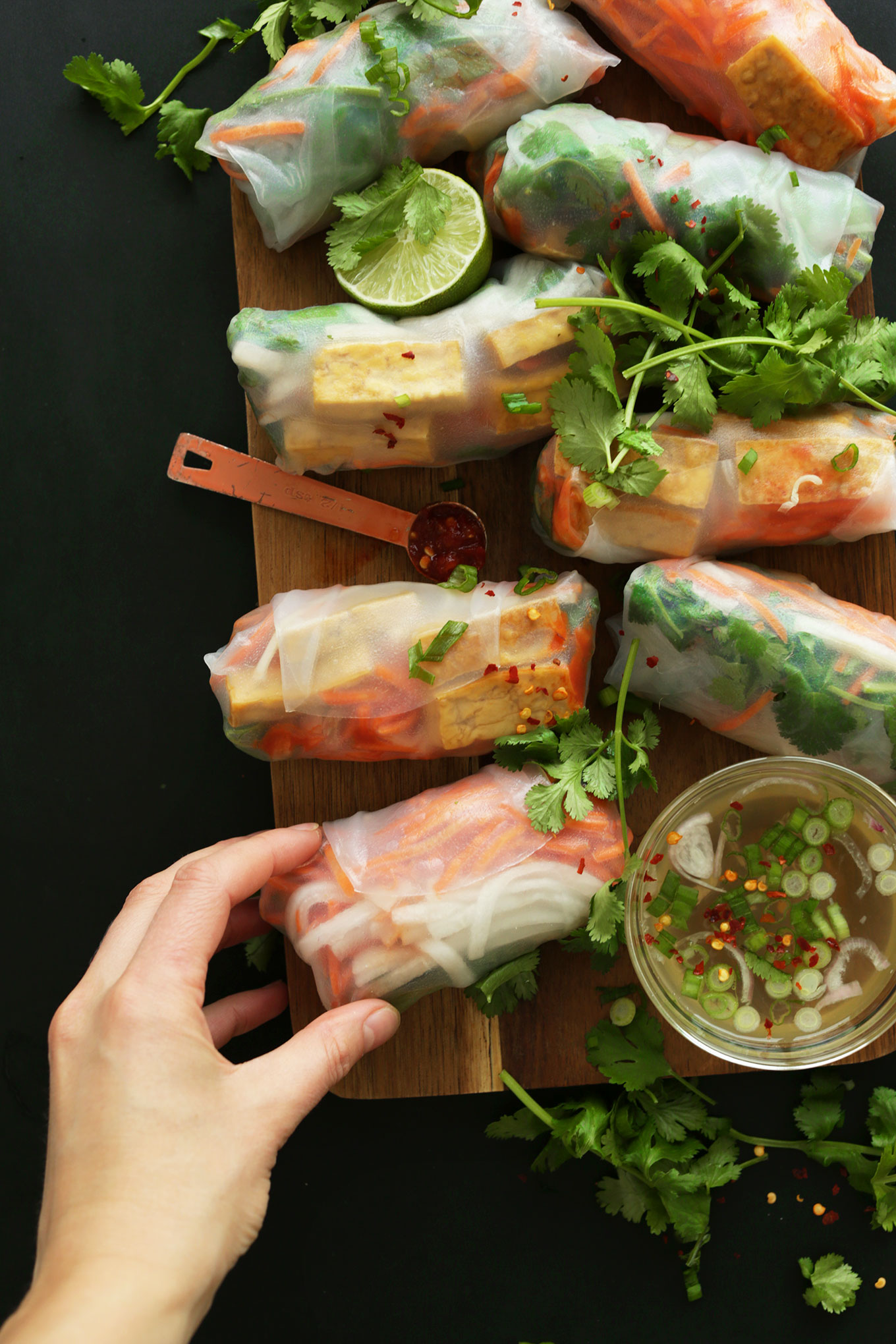 Healthy and fresh vegan Bahn Mi Spring Rolls alongside a bowl of dipping sauce