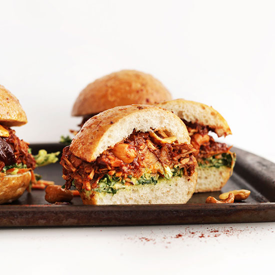 Baking sheet with Vegan BBQ Jackfruit sandwiches