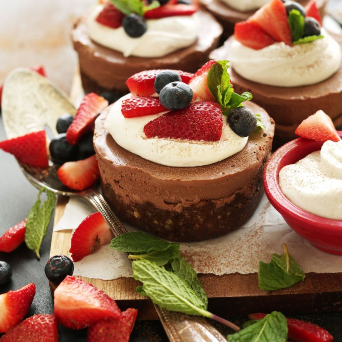 Creamy gluten-free Vegan Chocolate Cheesecakes for dessert