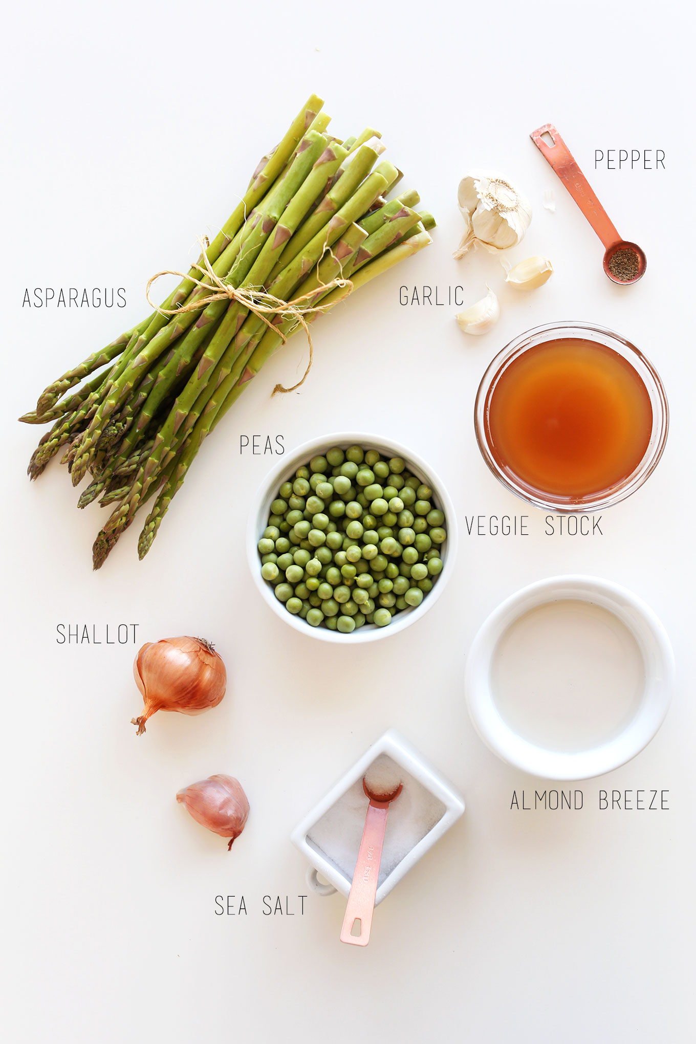 Ingredients for making our Creamy Asparagus Pea Soup recipe