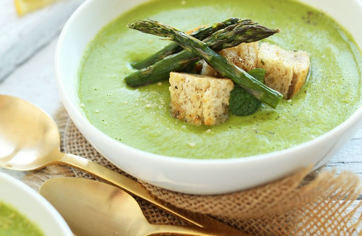 Bowl of creamy Asparagus and Pea Soup for a veggie-rich gluten-free dish