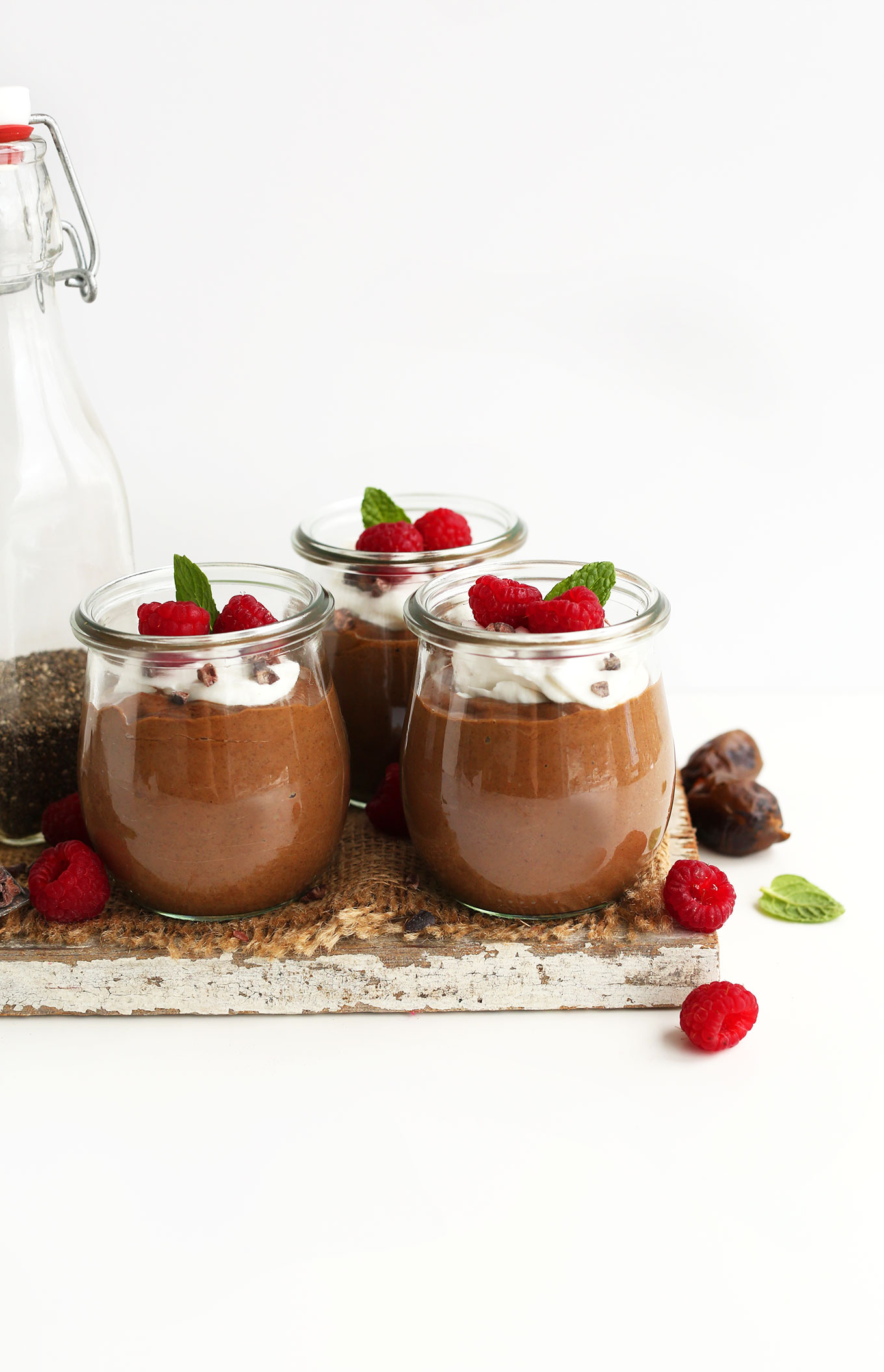 Jars of our super easy Chocolate Chia Seed Pudding recipe