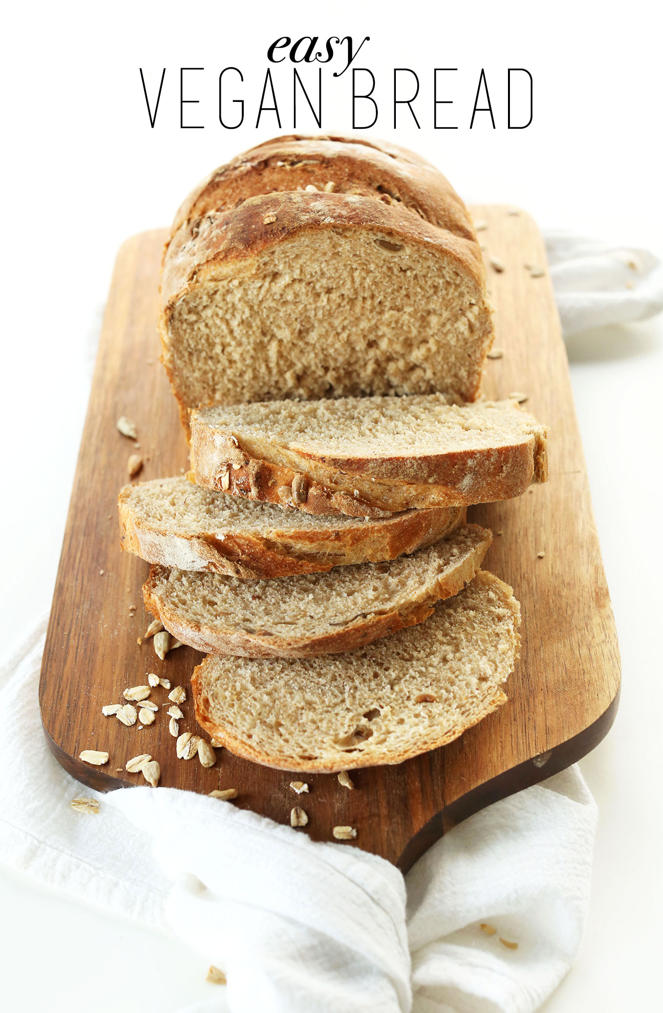 Sliced homemade Whole Grain Vegan Seeded Bread perfect for making sandwiches