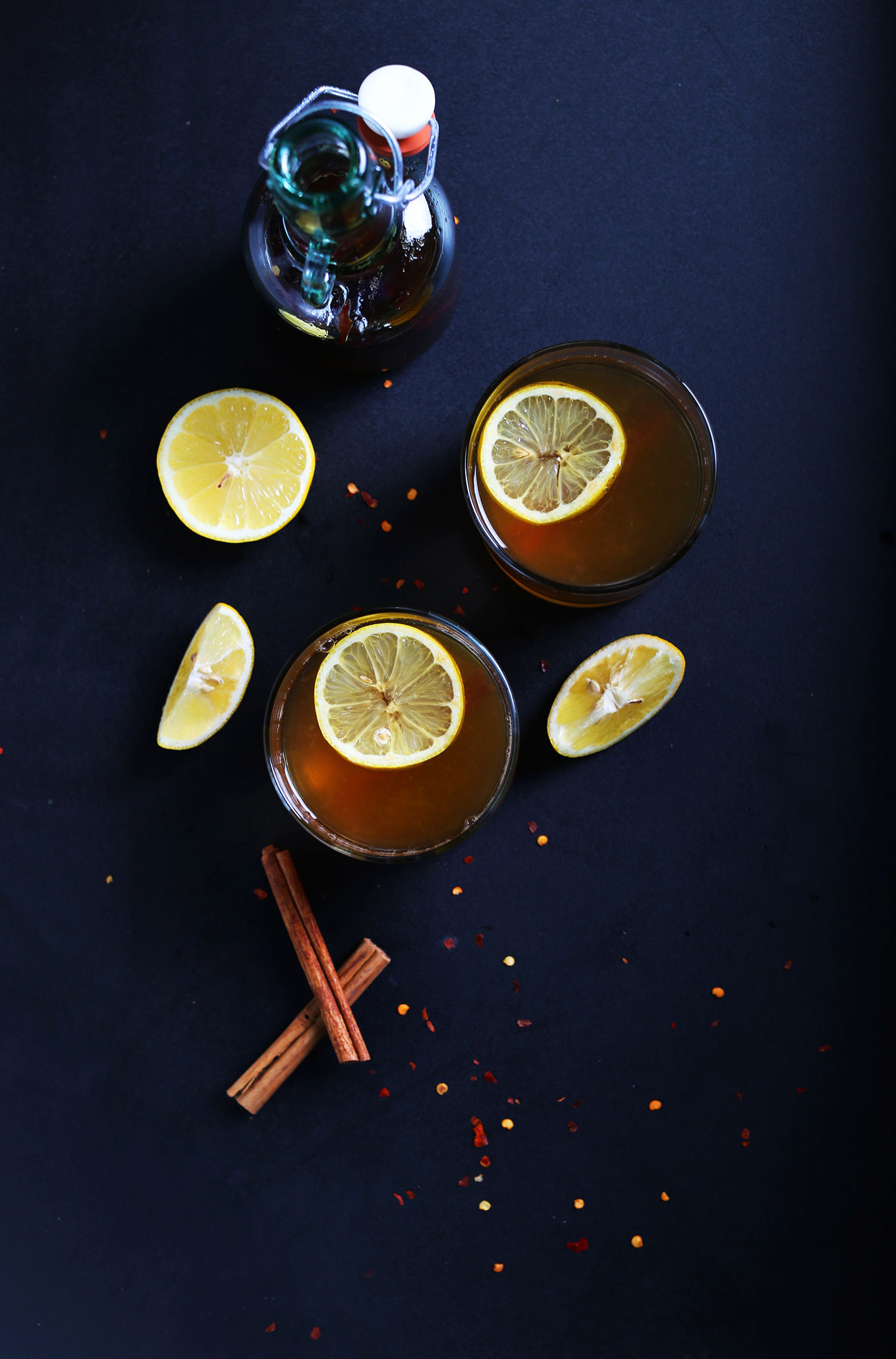 Glasses of our homemade easy vegan Hot Toddy recipe