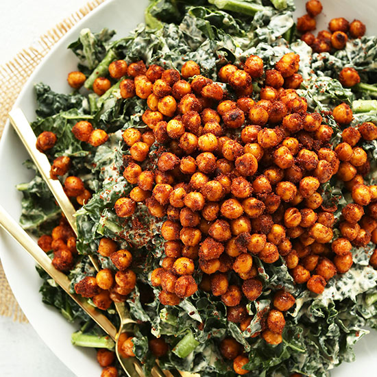 Big plate of Garlicky Kale Salad with Tandoori Spiced Chickpeas