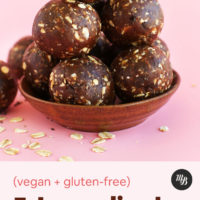 Bowl of vegan gluten-free Peanut Butter Cup Energy Bites